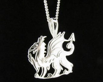 Sterling Silver Welsh Dragon Pendant & Chain