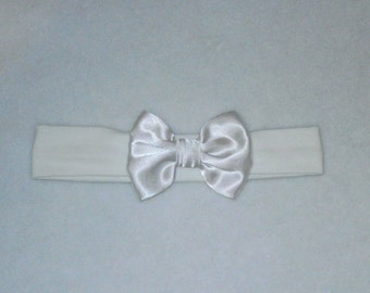 Baby's White Cotton Lycra Hair Band with Satin Bow 0-36 months Headband