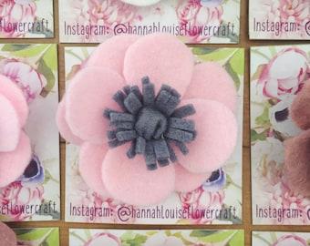 Felt anemone flower brooch