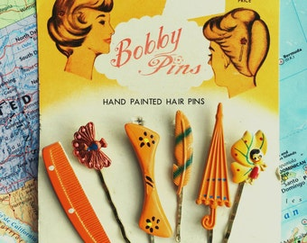 1950s vintage hand-painted enamel bobby pins and hair grips, Americana