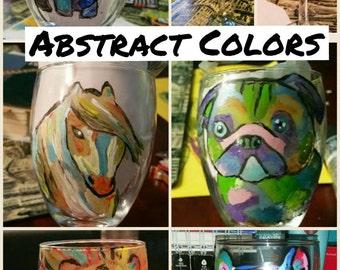 Hand painted animal wine glasses