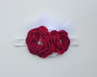 Red Flower Headband with White Feather