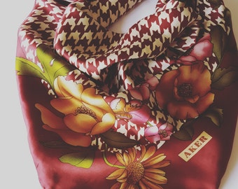 Vintage scarf pure silk signed by AKER