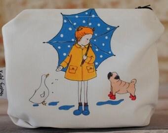 Cute make up zipper pouch, Pug make up organiser bag,  best make up bags, gift for best friend, cosmetic bag, make up bags uk, pug zip pouch