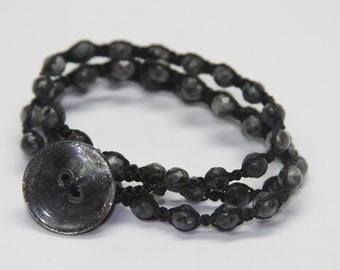 Triple Wrap made with Labradorite and Moon Burst button.