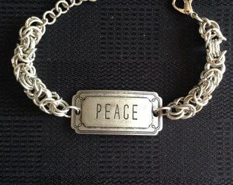 """Byzantine bracelet with """"Peace"""" focal"""