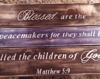 Thin Blue Line, Matthew 5:9, Police Officer Gift,Police Officer, Scripture, Law Enforcement, Police Home Decor, Police Sign