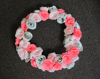 Crepe paper rose flower wreath