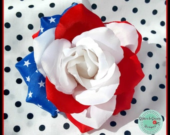 American Flag Hair Rose- Patriotic - America - Red White and Blue - 4th of July - Memorial Day