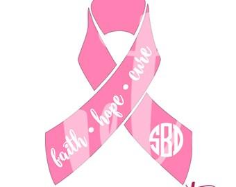 Faith Hope Cure Pink Ribbon; Vinyl Decal