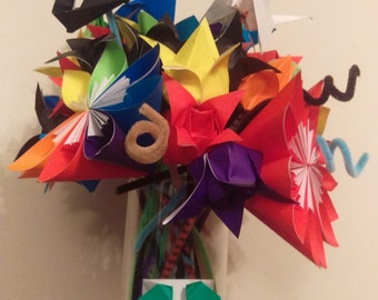 Beautiful and Colorful Oragami Bouquet - 100% Handmade
