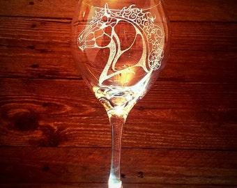 Celtic Horse Wine Glass // Gift under 25 // Birthday Gift // Wedding Gift // Horse Lover // Gift For Her // Engraved Glass