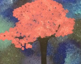 Sakura tree with galaxy background