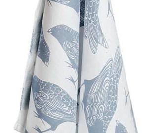 Hand Printed Blue Hopping Bird Tea Towel