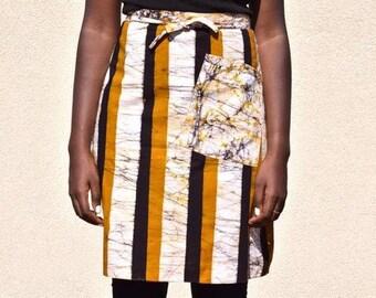 Batik Striped Reversible Half Apron