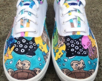 "Custom Vans or Keds Shoes -  ""Sea What I Did There"" Hand-Drawn Design"