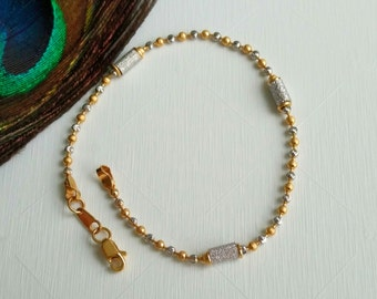 """GOLDSHINE Bracelet 22k 916 Solid Yellow White Gold Chain 7"""" Lobster Claw Clasp"""