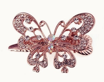 Girls Gold Butterfly Hair Clip. Butterfly Baby Girls Hair Clip. Vintage Butterfly Hair Comb. Girls Butterfly Clip. Gold Diamonte Butterfly