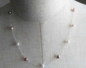 Pearl Station Necklace,Freshwater Pearl Necklace