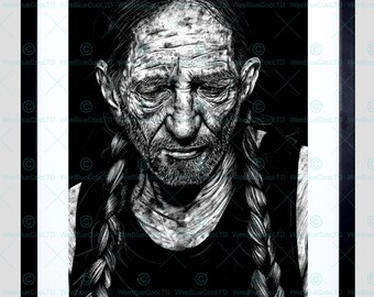 Willie Nelson Drawing Art Framed Art Print By W.Maguire F12X10621