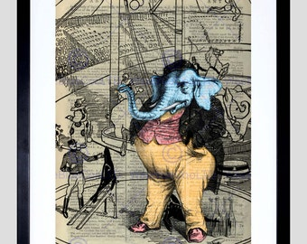 Upcycle Elephant Circus Dressed Framed Art Print Poster F12X10577