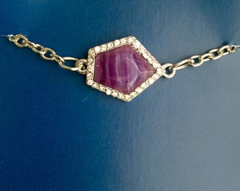 Silver and Purple Charm Bracelet