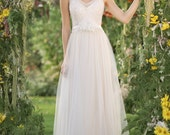 ZOOEY GOWN Sparkly, powder, fairy wedding dress , stunning wedding dress, Cream-white tulle lace, sequins beads over powdered color lining