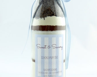 Cake mix, chocolate of muffins, cake mix in the bottle, chocolate, ideal as a gift for birthdays, Christmas for him and her