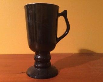 hall pedestal mug black flower vase vintage old glass dining drinking cup stemware