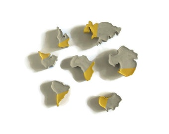 Seven Continent concrete magnets, cement magnets, world map, kitchen, refrigerator magnets, modern, minimalist, office accessories, beton