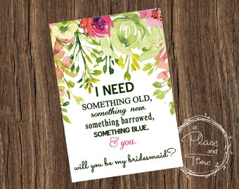 Printable Floral Will you be My Bridesmaid