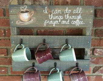 Customized Coffee Mug Rack, Personalized Coffee Cup Rack, Rustic Coffee Rack, Coffee Rack, Coffee Mug Rack, Coffee Cup Holder, Cup Rack