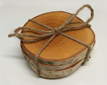 White birch coaster set