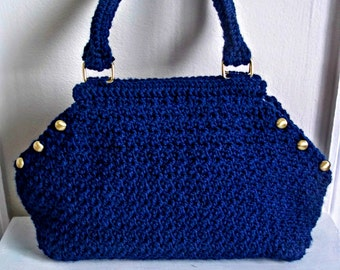 Navy Blue Cassandra Bag / Handbag / Purse / Hexagon / Crochet / Handmade / Gifts / Nautical / Handbags / Purses / Summer / Fashion