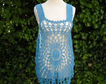Crochet top, crochet, shirt - turquoise, Gr. 36-40