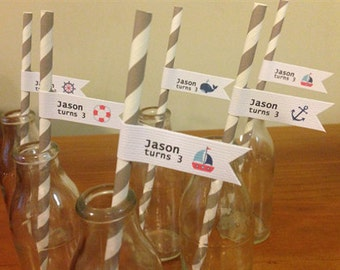 20x Personalised Boy's Sailor/Nautical Birthday Party Straws Decorations