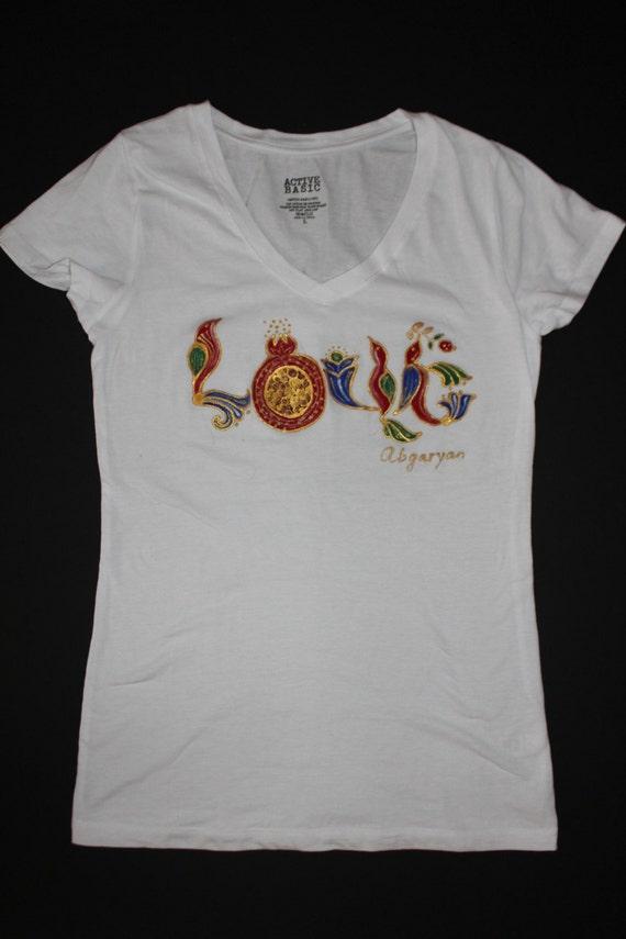 Hand painted white T shirt,Armenian alphabet, Armenian letters, Batik,Gift for her,Love T-shirt