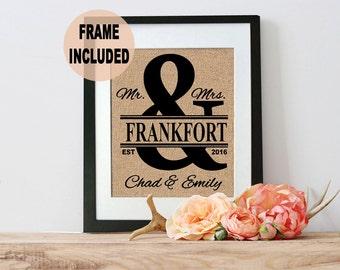 Name Frame Last Name Burlap Print Wedding Frame,  Framed Burlap for Wedding, Couples Gift, Wedding Gift, Unique Wedding, Bridal Shower Burla