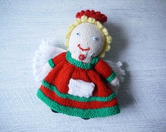 Hand Knitted Tooth Fairy Doll With Pouch