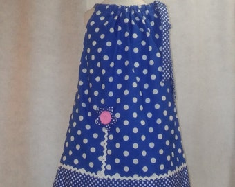 Meloney's Design handmade blue and white polka dot pillowcase dress