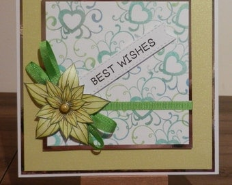 Green Stamped Card with flower and ribbon