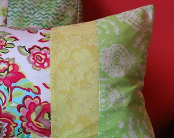 Patchwork Cushion Cover in Greens