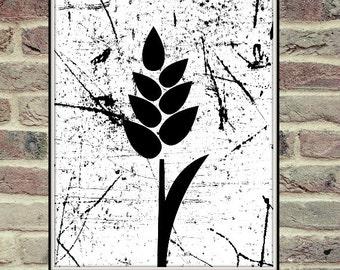 Black And White Wheat, Harvest, Printable Art, Black White, Wheat Poster, Black White Wall Poster, Black White Art Printable, Wall Art,