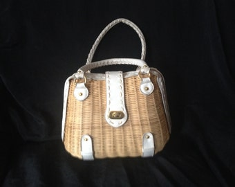VINTAGE 1950's BASKET BAG with white trim, saddle stitching over the trim  / 2 Handles
