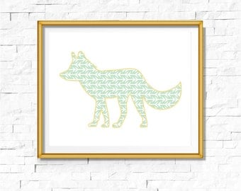 DIY Tribal Nursery Print | Woodland Print | Fox Art Boho | Bohemian Nursery Wall Decor | Wall Art Printable | Fox Mint Arrows | Bodhi