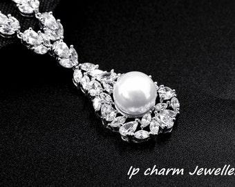 Bridal Drop Pearl Sterling Silver CZ Diamond Necklaces Wedding