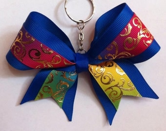 Cheer bow keychain - royal blue ombre