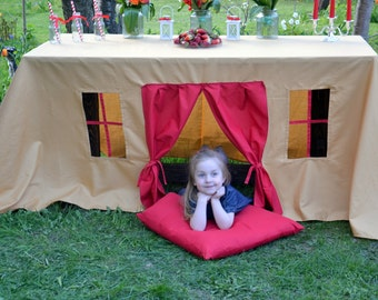 Tablecloth playhouse/ Kids party tablecloth/ Kids party decoration/ Play tent/ Fabric play house/ Kids indoor  playhouse