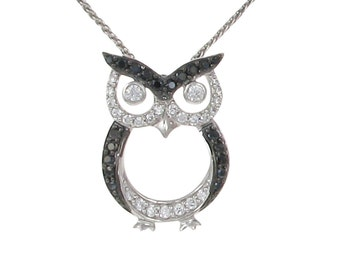 Cubic Zirconia and Silver Owl Pendant with Chain