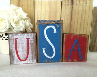 Patriotic wood blocks • USA blocks • Fourth if July • summer • rustic decor • red, white, and blue • home decor • Memorial Day